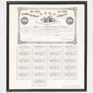 Framed 1862 Confederate $1,000 Eight Percent Bond