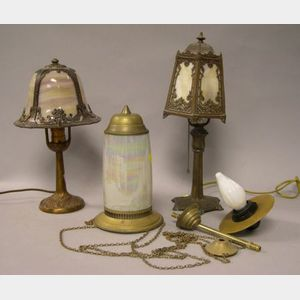 Two Cast Metal and Slag Glass Boudoir Table Lamps and a Turkish-style Brass and Opalescent Glass Hanging Lamp.