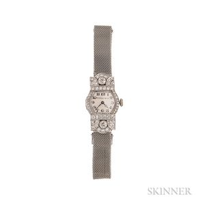 Art Deco Platinum and Diamond Wristwatch, Tiffany & Co.