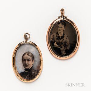 Two Miniature Portrait Pendants