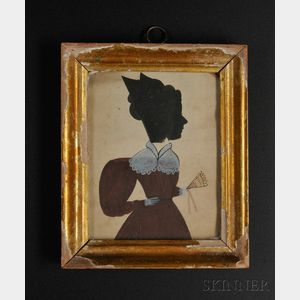 Puffy Sleeve Artist (New England, ac. 1830-31)      Silhouette Portrait of Henrietta Wakefield Wearing a Red Gown and Holding a Fan.