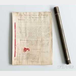 Adams, John Quincy (1767-1848) Letters Patent Signed, Washington, D.C., 9 October 1828.