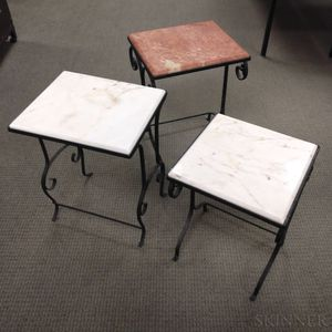 Three Stone-top Wrought Iron Tables