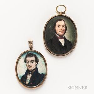 Two Portrait Miniature Pendants
