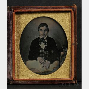 Sixth Plate Daguerreotype Portrait of a Seated Blind Boy with Braille Book