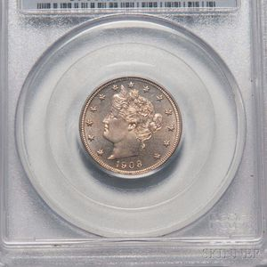 1908 Five Cent Liberty Head Nickel, PCGS PR65 CAC.