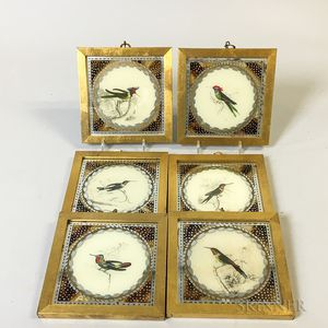 Set of Six Framed Reverse-painted Pictures of Birds