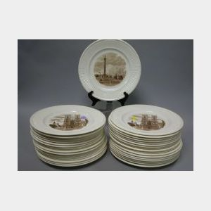 Set of Thirty-five Wedgwood Old London Views Brown Transfer Ceramic Dinner Plates