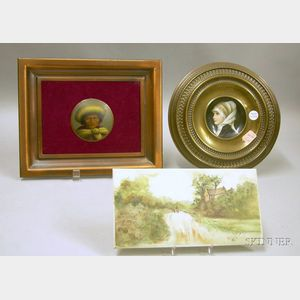 Pressed Brass Framed Small Hand-painted Porcelain Portrait Plaque