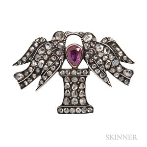 Antique Rose-cut Diamond Sentimental Brooch