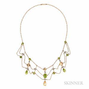 Antique Gold Gem-set Festoon Necklace