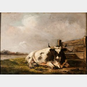 Dutch School, 18th Century      Cow at Rest in a Pasture