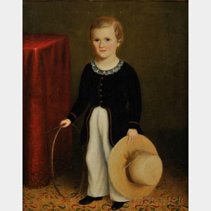 Manner of Joseph Whiting Stock (Massachusetts, 1815-1855)      Portrait of a Young Boy with His Hoop and Hat.