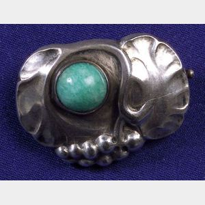 Silver and Amazonite Pin, Georg Jensen