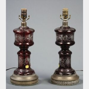 Pair of Bohemian Ruby Flashed Glass Lamps
