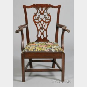George III Style Carved Mahogany and Needlepoint Upholstered Open Armchair