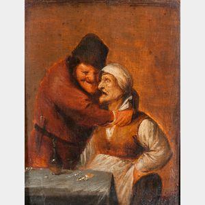 School of Pieter Quast (Dutch, 1606-1647)      Old Peasant Couple Embracing