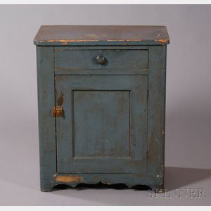 Blue-painted Pine Commode
