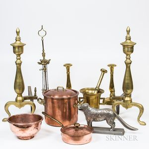 Large Group of Copper and Brass Fireplace Accessories and Domestic Items