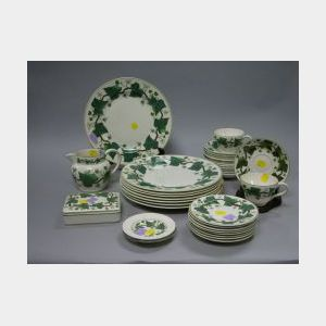 Thirty-five Piece Wedgwood Napoleon Ivy Pattern Ceramic Partial Dinner Set.