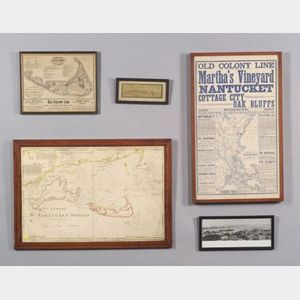 Five Nantucket Island Related Framed Items