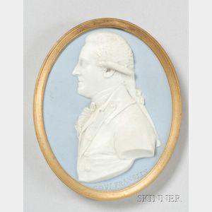 Wedgwood Light Blue Jasper Dip Portrait Medallion of William Franklin