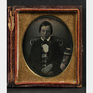 Sixth Plate Daguerreotype Portrait of a Boy Seated with Eyes Closed