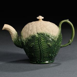 Staffordshire Cream-colored Earthenware Cauliflower Teapot and Cover