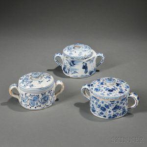 Three Dutch Delft Posset Pots and Covers