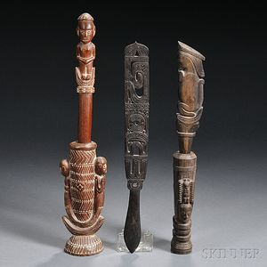 Three Melanesian Carved Wood Items