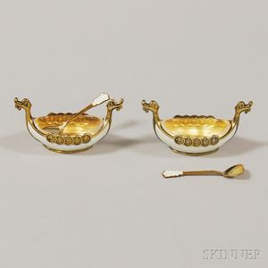Pair of Norwegian Gold-washed Sterling Silver and Guilloche Enamel Viking Ship-form   Salts