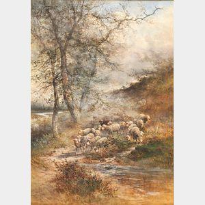 Hugo Anton Fisher (Czechoslovakian/American, 1854-1916)      Shepherd with His Flock.
