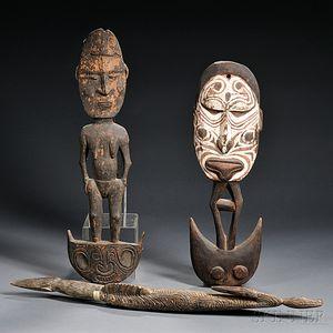 Three New Guinea Carved Wood Food Hooks