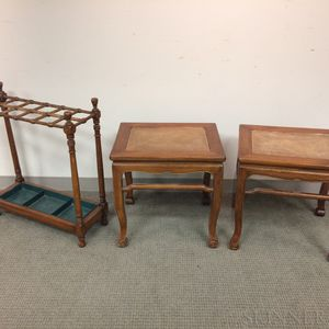 Pair of Chinese-style Hardwood Tables and an English Turned Walnut Umbrella Stand.