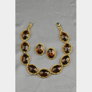 Gilded Metal and Faux Citrine Glass Necklace and Earclips, Hattie Carnegie