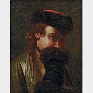 Attributed to Pietro Antonio Rotari (Italian, 1707-1762)      Portrait of a Russian Woman Hiding Her Smile Behind a Fur Cuff