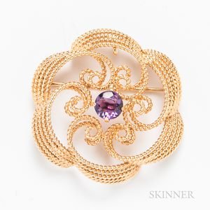 14kt Gold and Amethyst Brooch