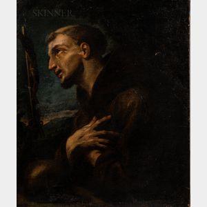 Follower of Carracci School (Italian, 16th/17th Century)      St. Francis in Prayer