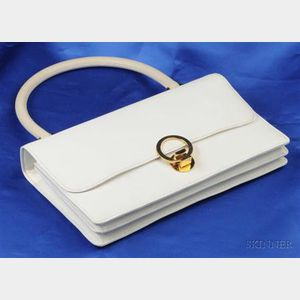 Ivory Textured Leather Handbag, Hermes