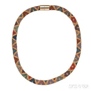 Vienna Glass and Metal Bead Necklace, Attributed to the Wiener Werkstatte