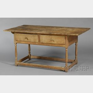 Large Two-Drawer Maple and Pine Stretcher-base Table
