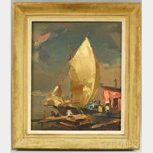 Paul Puzinas (American, b. 1907)      Harbor Scene
