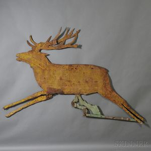 Large Sheet Iron Leaping Reindeer Silhouette Weathervane
