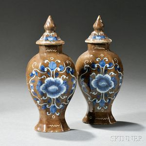 Pair of Miniature Dutch Delft Batavian Brown Vases and Covers