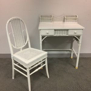 White-painted Wicker Desk and Chair