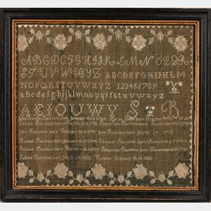 Barstow Family Needlework Sampler and Family Record
