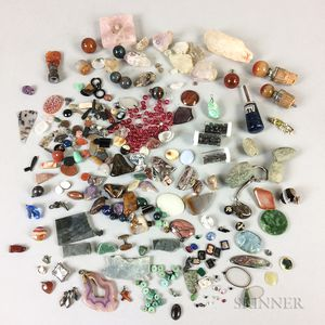Large Group of Antique Hardstone and Costume Jewelry