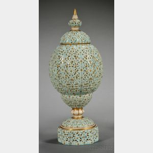 Grainger Worcester Porcelain Reticulated Persian-style Vase and Cover