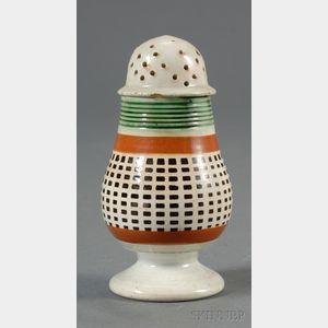 Mochaware Engine-turned Pepper Pot