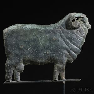 Molded Sheet Copper and Cast Zinc Merino Ram Weathervane